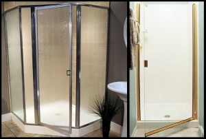 On the left is a framed swinging shower door and on the right is a semi-frameless shower enclosure.