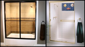 On the left is a fully framed sliding shower enclosure and on the right there is a frameless shower.
