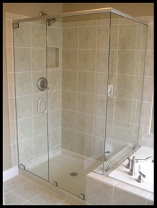 On the right side of the shower enclosure there is a buttress panel, a panel which is shorter than the others.