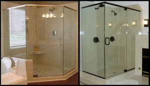 On the left is an example of a Neo-Angle Unit shower enclosure. Neo-Angle basically means custom angles. On the right is the standard 90 degree angle shower enclosure.