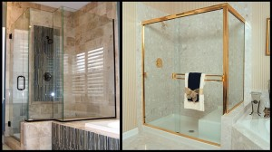On the right is an example of a butt joint or mitered corner, where the corner is glass meeting glass. On the right is an example of a framed corner.